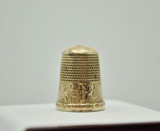 Vintage Gold Filled Simon Brothers Sewing Thimble Fmo689 photo