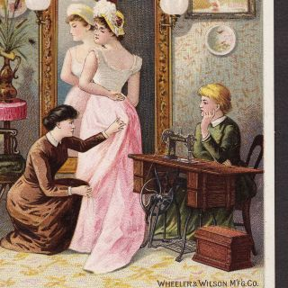 Wheeler & Wilson Sewing Machine Milwaukee Dress Making Advertising Trade Card photo