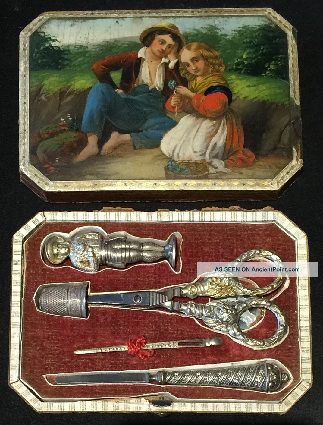 Antique German Stobwasser Sewing Etui Figural Needle Case Lacquer Painted 1818 Other Antique Sewing photo