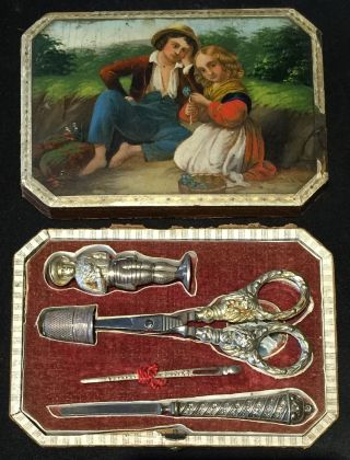 Antique German Stobwasser Sewing Etui Figural Needle Case Lacquer Painted 1818 photo
