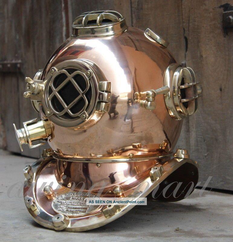 Heavy Usn Mark V Copper & Brass Diving Divers Helmet Full Size Diving Helmets photo
