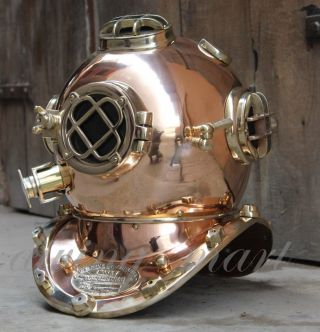 Heavy Usn Mark V Copper & Brass Diving Divers Helmet Full Size photo