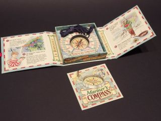 Antique Style Educational Maritime Pocket Kids Compass Necklace W Booklet,  Facts photo