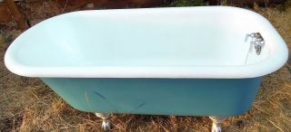 Antique,  Clawfoot,  Rolled Rim,  Early 1900 ' S Porcelain/cast Iron Bathtub photo