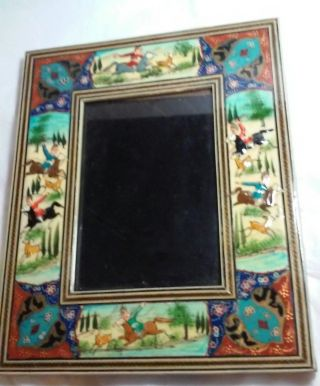 Vintage Hand Made Persian Lacquer Painted Wood Frame Horsemen & Gazelles photo