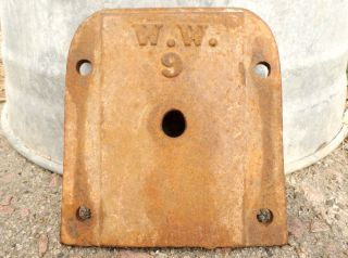 Antique Cast Iron W.  W.  9 Brown Hardware Part Salvaged Rustic Steampunk Art photo