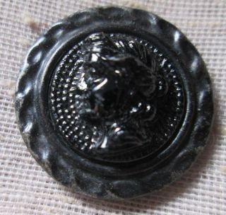 Antique Brass Metal Button Black Glass Ladys Head Center Tread Gathered Shank photo