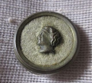 Small Antique Brass Metal Perfume Button Ladys Head In The Center Wobble Shank photo