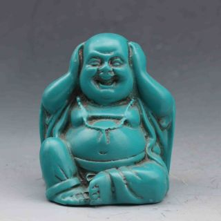"Chinese Hand - Carved Turquoise ""not Listen"" Maitreya Buddha Statue G695 photo"