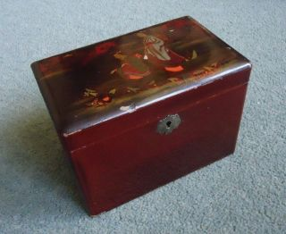 Red Lacquer Chinoiserie Tea Caddy C 1850 photo