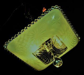 Vtg Deco Era Jadeite Green Glass Shade Ceiling Light Chandelier Fixture Crystal photo