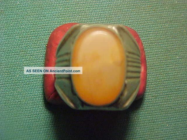 Near Eastern Hand Crafted Solid Silver Ring Carnelian Stone 1700 - 1900 Near Eastern photo
