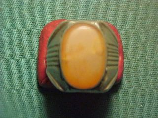 Near Eastern Hand Crafted Solid Silver Ring Carnelian Stone 1700 - 1900 photo