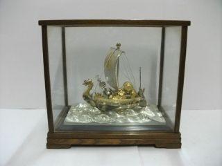 Silver Phoenix Treasure Ship Of The Most Wonderful Japan.  296g/ 10.  42oz. photo