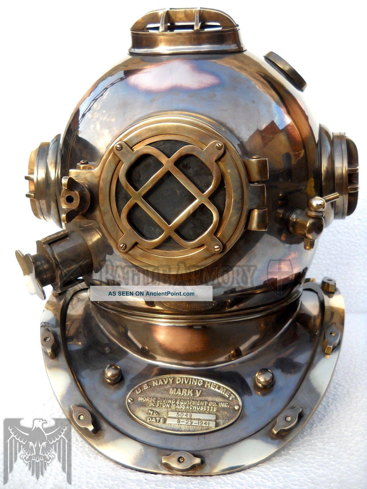 Antique Copper Brass Diving Helmet U.  S Navy Mark V Full Size 18 Diving Helmets photo