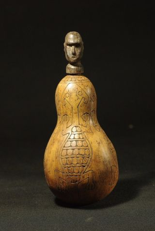 Antropomorphic Container Carved From A Jungle Gourd - Timor Primitive Artifact photo