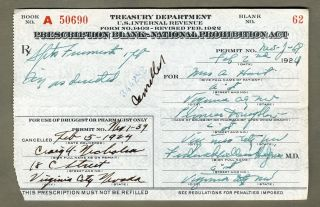 Virginia City Nevada 1924 Prohibition Prescription Spiritus Frumenti Pint Hooch photo