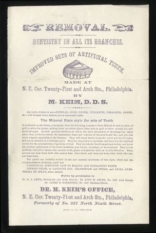 1870s Advertising Dental Broadside Dr.  Milton Keim,  Md,  Dds Philadelphia Dentist photo