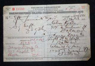 Authentic May 26th 1923 Prohibition Medical Alcohol Prescription Balt,  Md photo