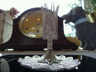 Sterling Silver Filigree Flower Holder And Dish Exceptional Quality Hand Made. photo