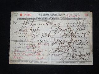 Authentic June 13th 1923 Prohibition Medical Alcohol Prescription Balt,  Md photo