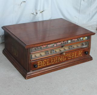 Antique Walnut Belding Silk Advertising Spool Cabinet - Sewing - Country Store D photo