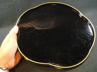 Japanese Vintage Black Lacquer Obon Candy Plate Serving Board Hand Carved Wood photo