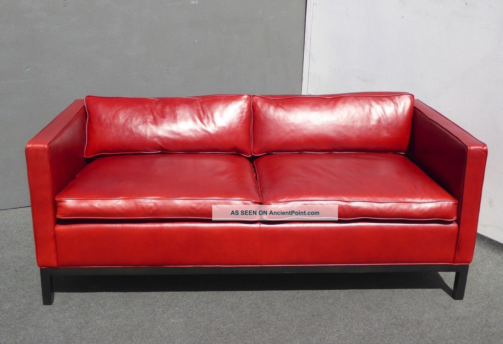 Design Within Reach Contemporary Red Leather Low Profile Designer Sofa Couch Post-1950 photo