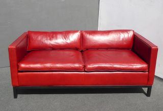 Design Within Reach Contemporary Red Leather Low Profile Designer Sofa Couch photo