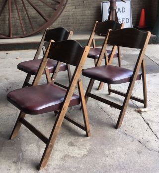 4 Vintage Deco Folding Chairs B.  J Harrison Modern Curved Back (20total) A Frame photo