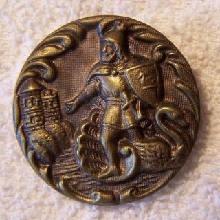 Antique Victorian Large Picture Story Button Knight Of The Swan German Made photo