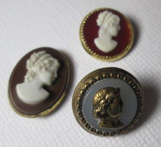 3 Small Cameo Buttons - - 1 Male Antique Button - 2 Same Female On Red Background photo