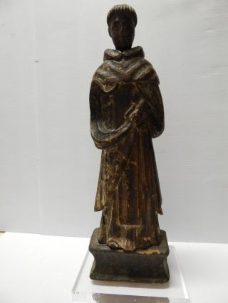 Old Mexico Antique Mexican Saint Santos Statue Wood Crvd Figure - Exceptional photo