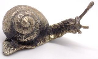 Vintage Solid Silver Real Life Size Big Snail - Stamped - Made In Italy photo