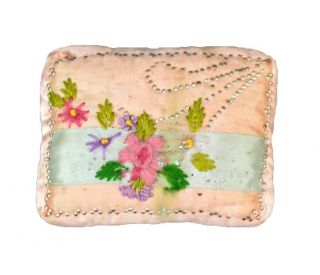 Sewing Pin Cushion Silk Embroidered Handmade Folk Victorian Antique photo