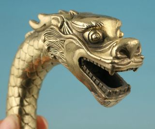 Gothic Chinese Old Brass Handmade Carved Dragon Statue Cane Walking Stick Head photo