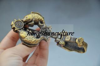 Collectible Chinese Copper Old Handwork Carved Fish Belt Buckle photo
