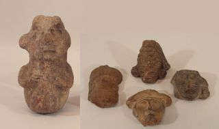 Ancient Authentic Pre - Columbian Effigy Pottery Figural Vessel,  Four Fragments photo