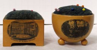 2 Antique Mauchline Ware Pincushions Robert Burns Interior Cottage photo