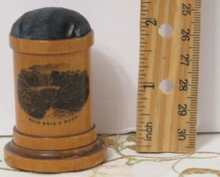 Antique Mauchline Ware Small Pincushion Thimble Holder Brig O'doon Robert Burns photo