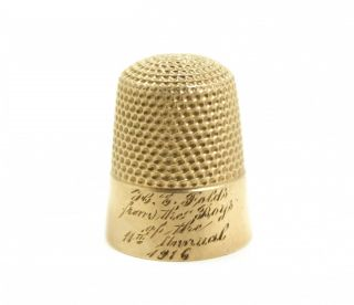 Antique Early 20c Presentation Engraved Solid Yellow Gold Sewing Thimble photo