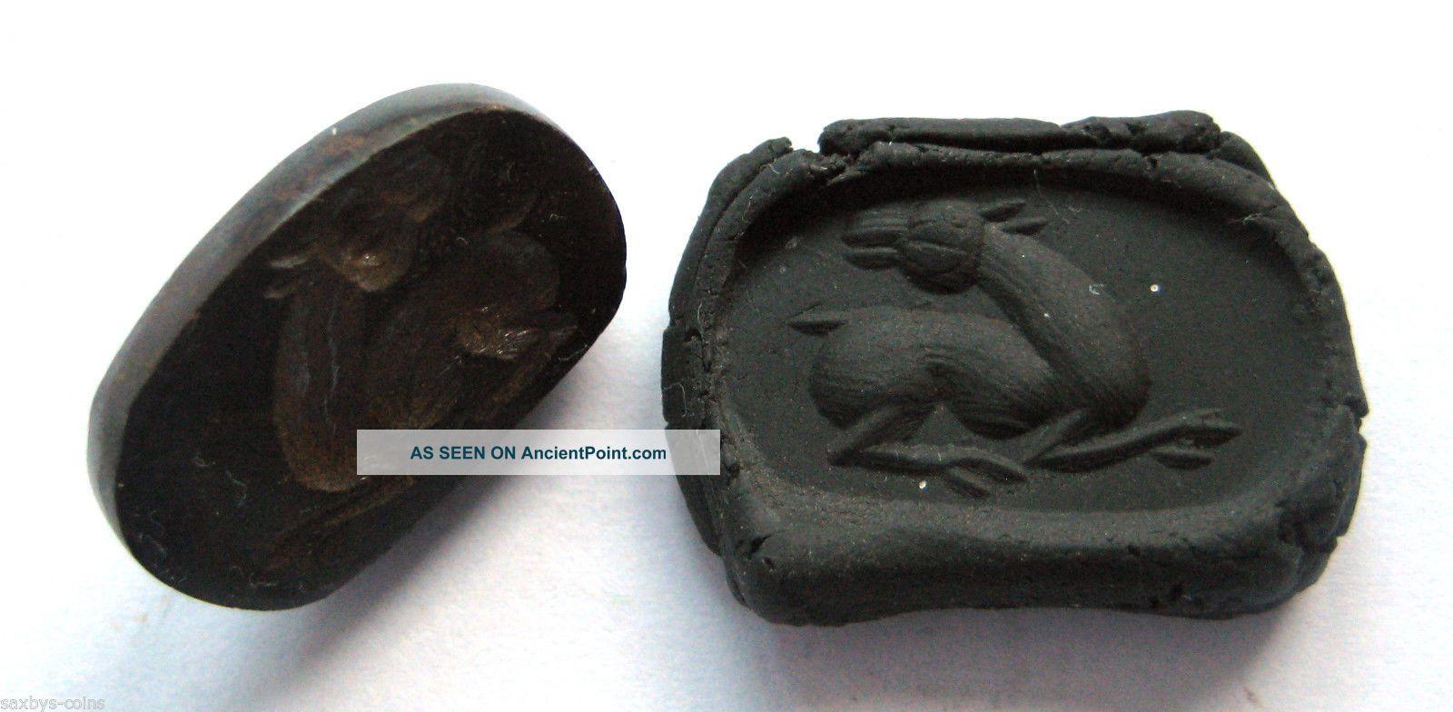 Circa.  400 A.  D Sassanian Empire Zoomorphic Pirite Seal Matrix - Horse Detail Near Eastern photo