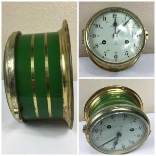 Vintage Ships Clock Schatz Green Royal Mariner photo