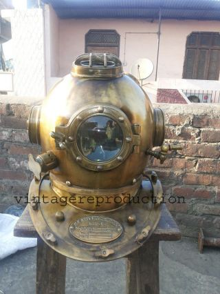 Antique Scuba Divers Diving Helmet U.  S Navy Mark V Deep Sea Marine Divers 18