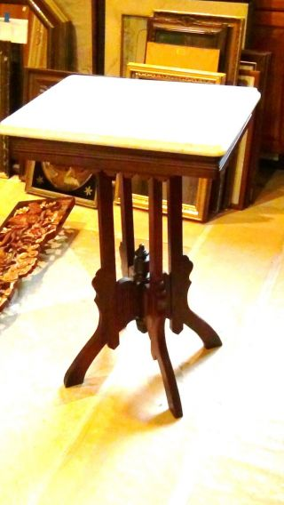 Antique Victorian Eastlake Walnut Carved Marble Top Lamp Table photo