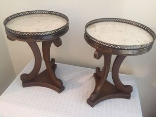 Pair Vintage Hollywood Regency Marble Top Occasional Side Tables Taboret Stands photo