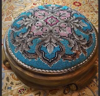 Rare Antique 1800s Victorian English Fully Beaded Cushion Cricket Footstool Pouf photo