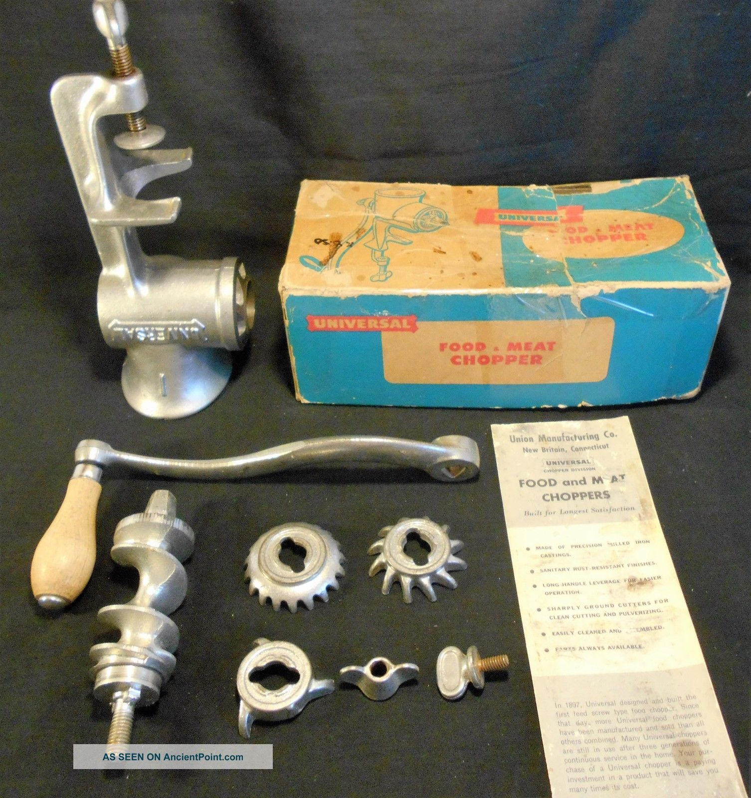 Old,  Universal 1 Hand Crank Food & Meat Chopper With Box Meat Grinders photo
