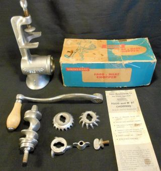 Old,  Universal 1 Hand Crank Food & Meat Chopper With Box photo