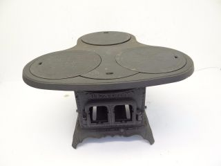Antique Small Black Metal Cast Iron Beauty Troy Oil Stove Co Cooktop Stove Parts photo